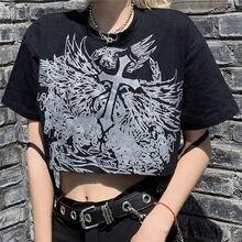 Estilo gótico colheita topo harajuku gráfico t camisa para as mulheres ulzzang coreano tshirt verão t croptop goth roupas de manga curta