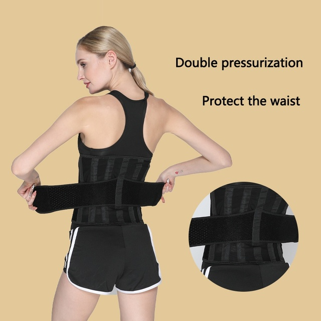 Unisex Fitness waist belt neoprene sweat belt exercise slimming body shaper Adjustable gym training waist trimmer support 3
