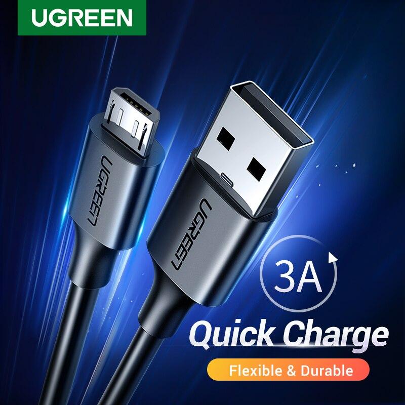 Ugreen micro usb c tipo c rápido cabo de carregamento usb tipo-c 3a cabo de dados para samsung s7 s6 nota telefone móvel micro cabo usb