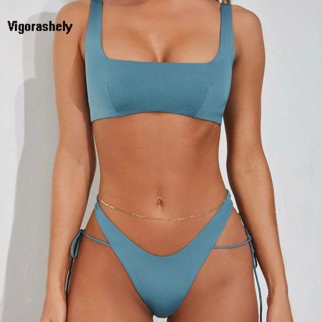 Vigorshely 2020 Sexy Blue Bikini Set Swimsuit Female Push UP Swimwear Women High Cut Thong Brazilian Bikini Bathing Suit Biquini