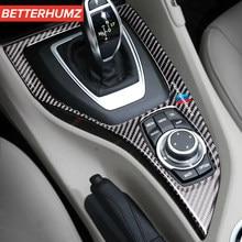 Para bmw e84 2010-2015x1 acessórios do carro de fibra de carbono adesivo console mudança de engrenagem quadro painel m desempenho capa guarnição decoração