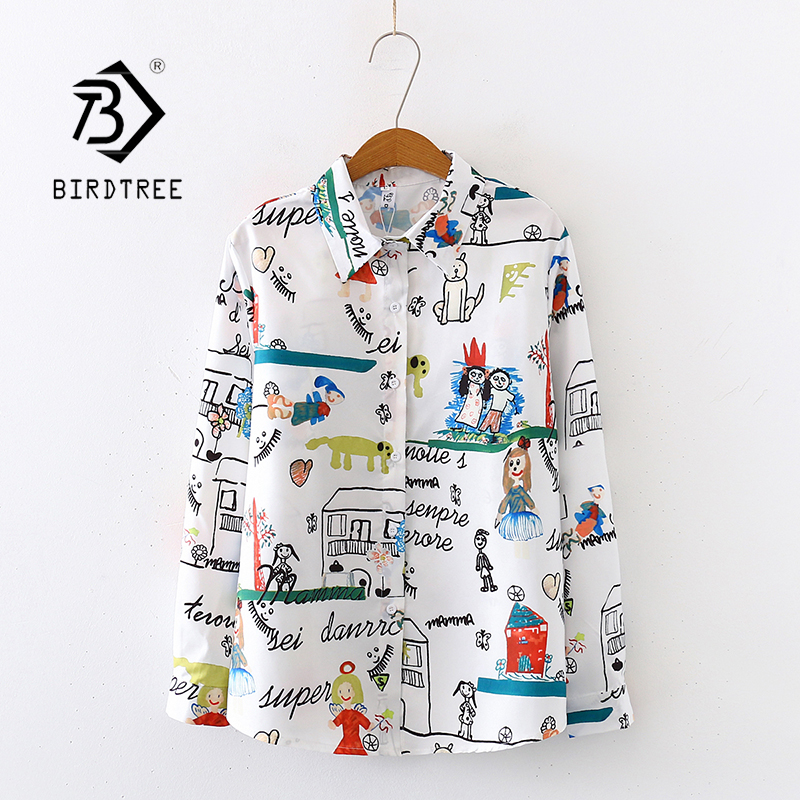 2020 Spring New Women Cartoon Doodle Print Chiffon Blouse Autumn Long Sleeve White Shirt Vintage Loose Tops Feminina Blusa T9D74