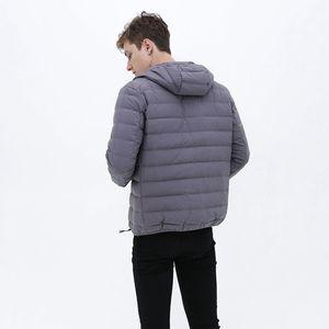 Image 2 - Matt Fabric Ultra Light Down Jacket Men Hooded Winter Mens Down Jacket Windbreaker Feather Jacket Man Lightweight Portable Coat