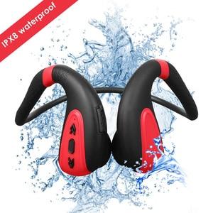 Водонепроницаемые наушники IPX8, беспроводные наушники Bluetooth 5,0, наушники с шейным ободом и костной проводимостью, гарнитура с 8 Гб для плавани...