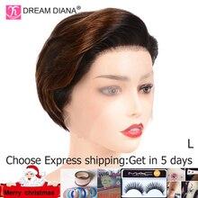 DreamDiana, Омбре, бразильские парики, Remy, 13x4, парик на кружеве, Омбре, парик на шнурке, 8 дюймов, 150 плотность, человеческие волосы на фронте, парик на шнурке, низкое соотношение