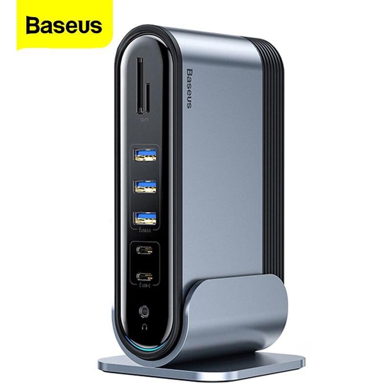 Baseus 17 in 1 USB C 허브 유형 C-멀티 HDMI RJ45 VGA USB 3.0 PD 전원 어댑터 도킹 스테이션 MacBook Pro 노트북 USB-C 허브