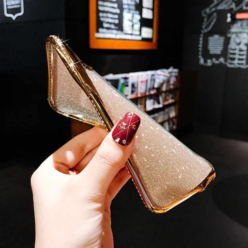 블라인드 라인 석 반짝이 전화 케이스 아이폰 X XR XS 맥스 11 프로 맥스 소프트 실리콘 다이아몬드 커버 아이폰 6S 6 7 8 플러스 케이스