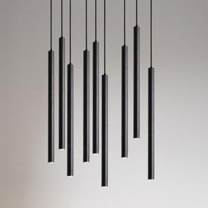 Image 5 - [DBF]Long Tube LED Pendant Light Black/Gold/White 1m Wire Hanging Mini Spot Lamp Kitchen Dining Room Bar Counter Shop Spot Light