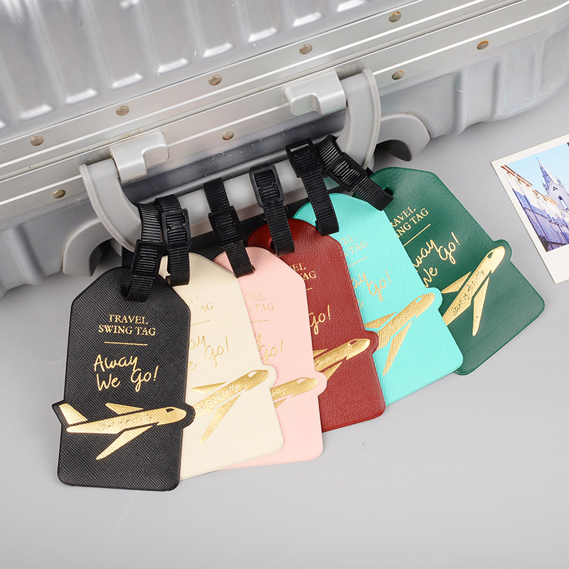 Women Men Creative Aircraft PU Leather Luggage Tag Travel Accessories Portable Label Suitcase ID Address Holder Baggage Boarding