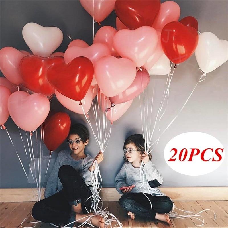 20 штук 12 дюймов розового, белого, красного цвета с надписью «Love латексные воздушные шары «сердце» Свадьба День святого Валентина романтичес...