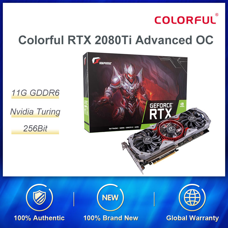 Colorful <font><b>RTX</b></font> 2080Ti Advanced OC Graphic Card <font><b>2080</b></font> <font><b>ti</b></font> 11G Nvidia Turing GPU GDDR6 1635MHz For PC Gaming GeForce Video Cards image