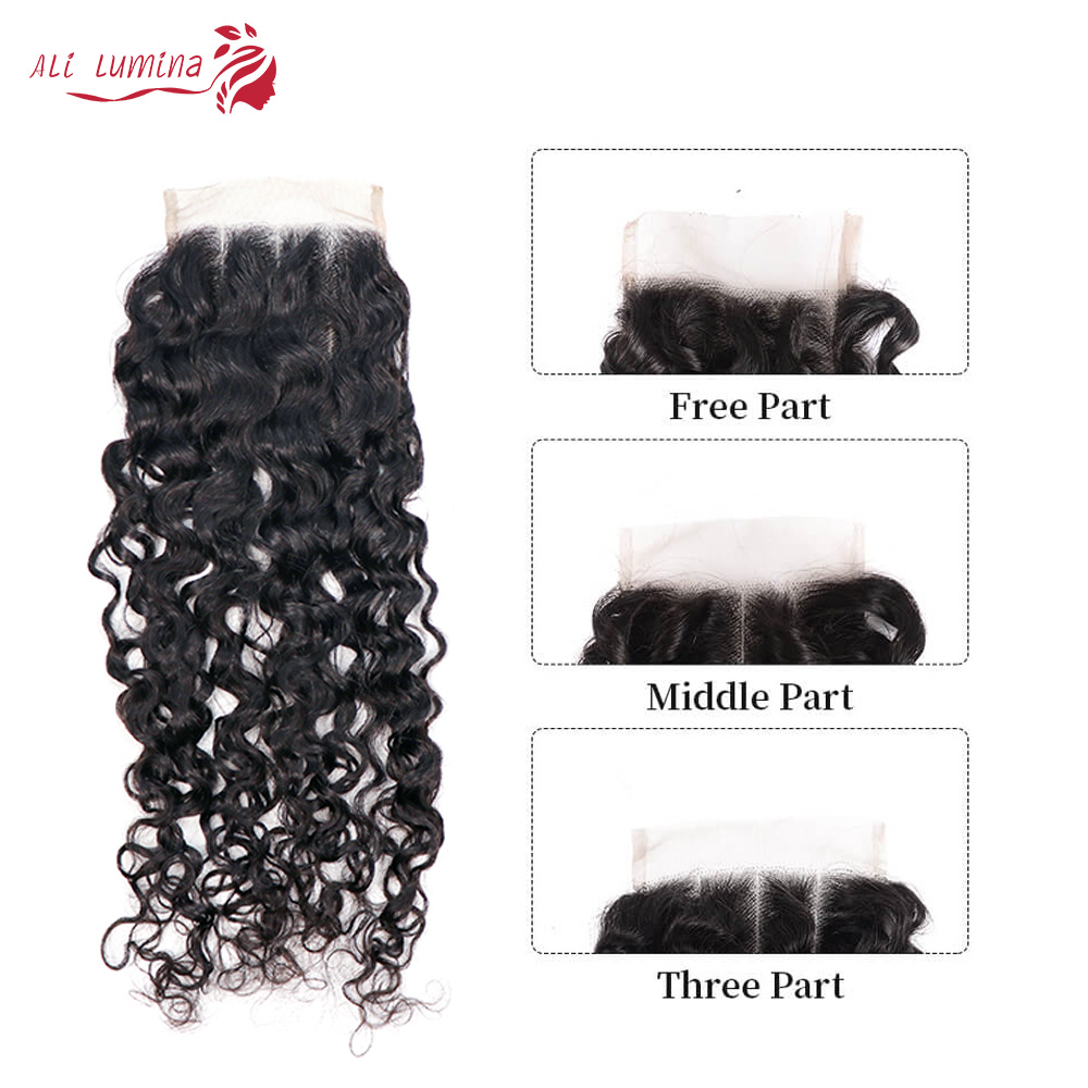 Curly Hair  Bundles 3 Bundles with 4*4 Lace Closure Natural Color  hair 100%  s Double Weft Hair 5