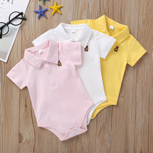 Newborn Baby Romper 0-12 Months 2020 Summer Solid 3 Colors Polo Infant