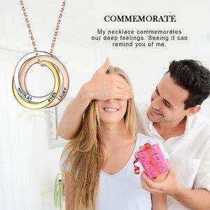 Image 2 - Strollgirl collar de plata de ley 925 con colgante personalizado, palabras personalizadas y fecha, collar de 3 círculos con cierre, joyería para mujer.