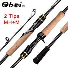 Obei elf fundição fiação vara de pesca 2.1/ 2.4m m/mh viagem isca de rua 2 dicas haste rápida vara de pesca 13-39g
