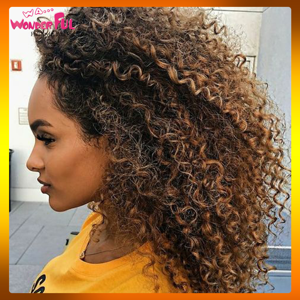 Peruvian Remy Hair Kinky Curly Hair Omber Blonde Wig Machine Made Short Human Hair Wigs For Women Color #1B/4/27 #1B/99J
