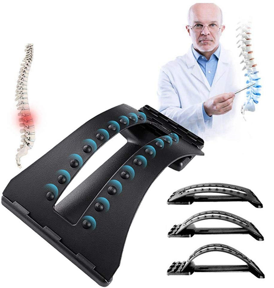 (Ship Now) Back Massager Stretcher Lumbar Support Device Lower and Upper Back Pain Relief Relax Posture Corrector 3 Levels