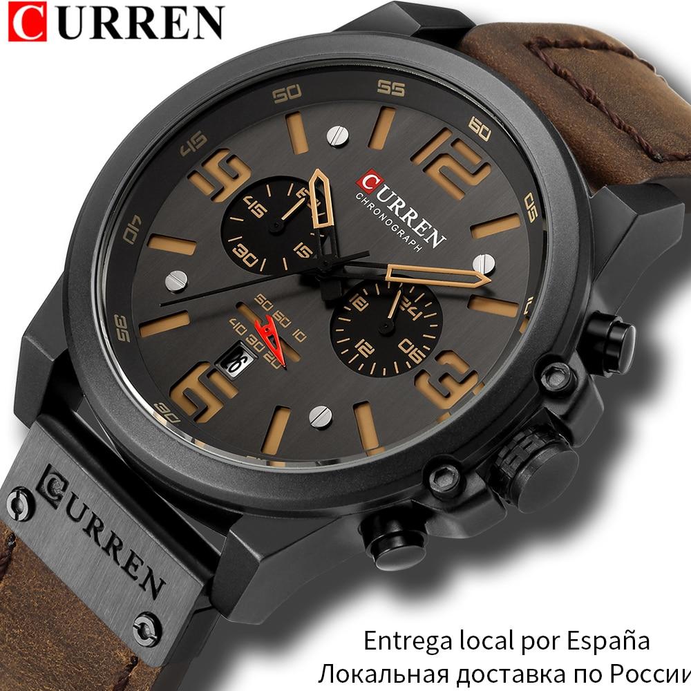 CURREN Mens Watches Top Luxury Brand Waterproof Sport Wrist Watch Chronograph Quartz Military Genuine Leather Relogio Masculino(China)