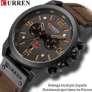 Image 1 - CURREN Mens Watches Top Luxury Brand Waterproof Sport Wrist Watch Chronograph Quartz Military Genuine Leather Relogio Masculino