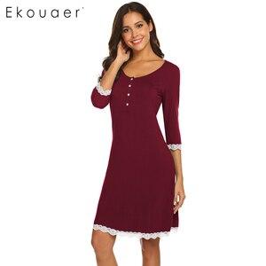 Image 4 - Ekouaer כתונת לילה אביב קיץ הלבשת שמלת כותונת האופנה נשים V צוואר יולדות שלושה שרוול רבעון כפתור Nightwear