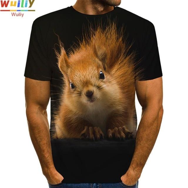 Men's Squirrel T Shirt 3D Print Shirt Animal Graphic Tees Lovely Pattern Tops Men/Women Cute Puppy Face Tee Funny Pet T-shirt 4