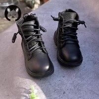 gennuine Leather Martin boots girls plus velvet princess boots short cotton flats boots autumn winter new boys