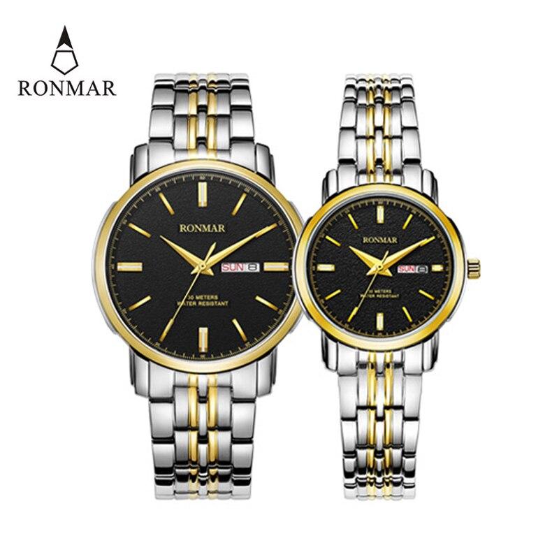 Fashion Couple Quartz Watch RONMAR Double Calendar Date Waterproof Wristwatch Lover Women Men Stainless Steel Business Clock