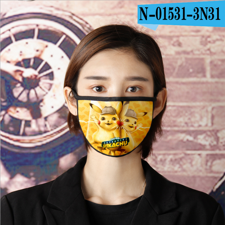 Anti Pollution Reusable Mask Washable Mask Cosplay Masks Adult Cotton 3D Anime Mask Pokemon Go Pikachu Expression Cartoon Unisex