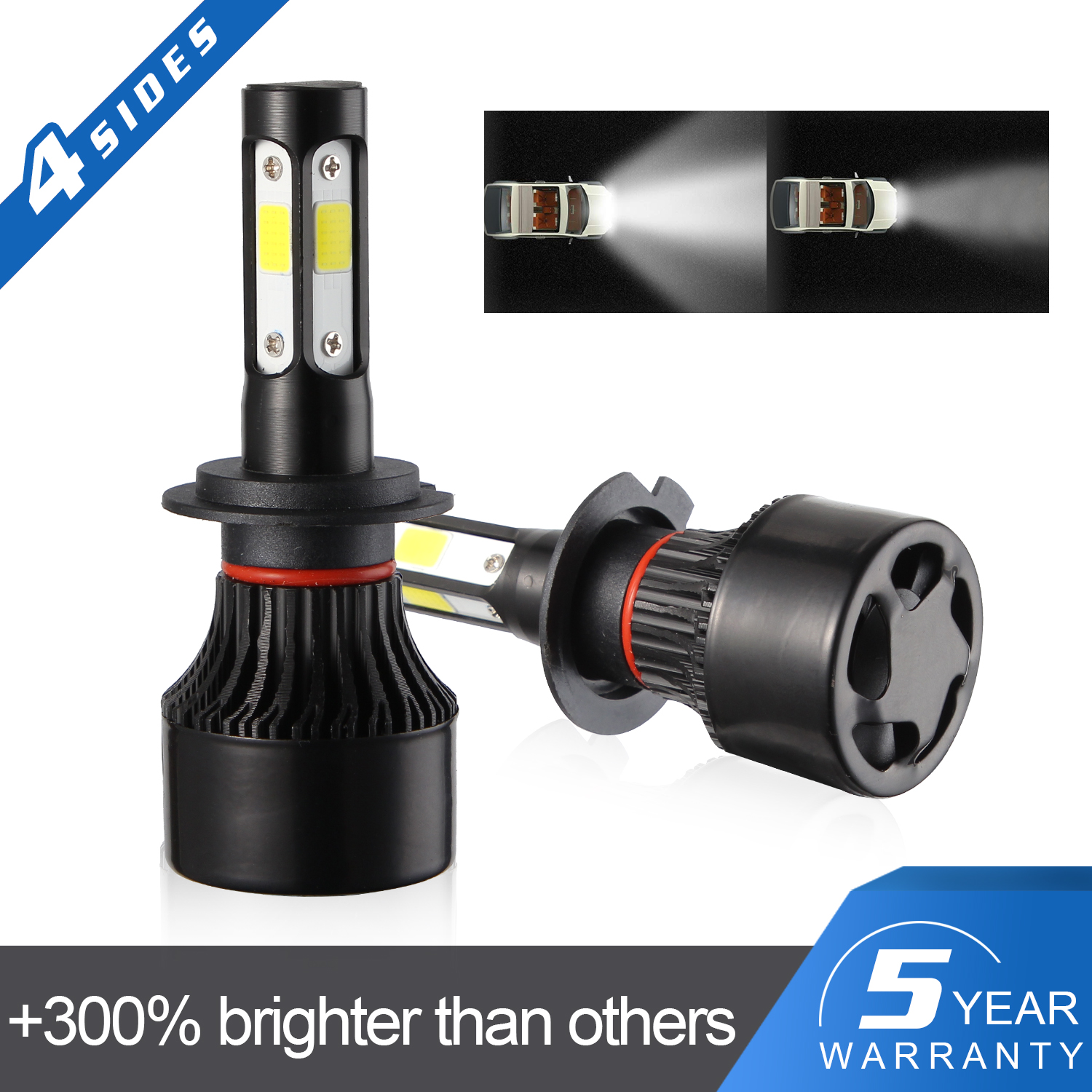 2x 4-Side <font><b>H7</b></font> LED Headlight Kits Hi/Lo Beam Bulbs 2400W 360000LM 6500K White LED Headlight Fog Light Bulbs COB Light image
