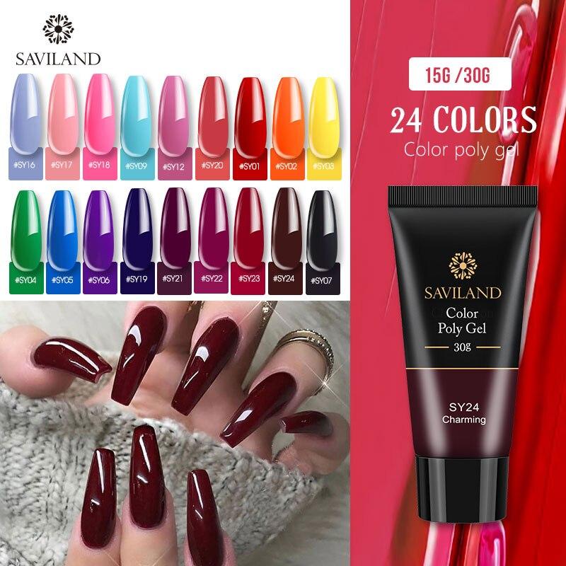 SAVILAND 15g 30g Color Quick Poly Gel Finger Extension Soak Off UV Camouflage Builder Poly Gel Hard Gel Nail Polish
