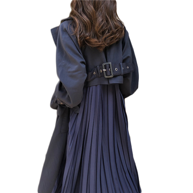 Plenty Spot Send Within 12h Women Trench Coat Long 2020Pleated Chiffon Splice Coat Female Spring Elegant Loose Big Size Trench