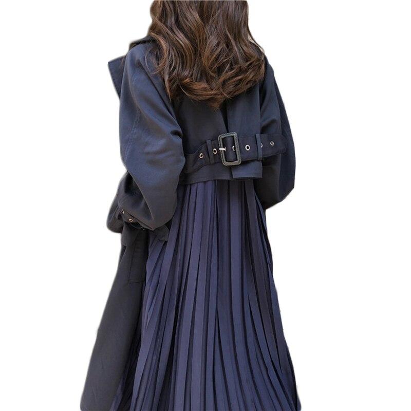 Plenty Spot Send Within 12h Women Trench Coat Long 2020Pleated Chiffon Splice Coat Female Spring Elegant Loose Big Size Trench
