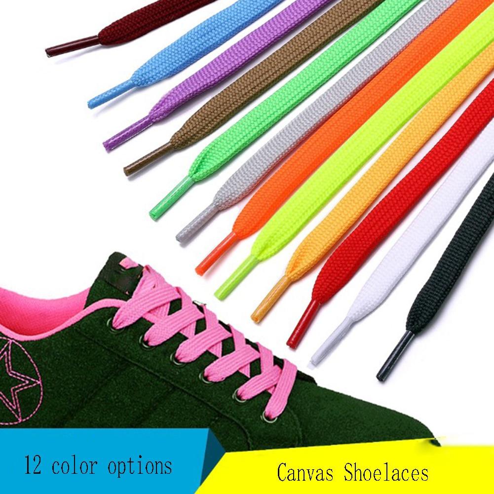 1Pair Flat Casual Shoeslaces Elastic Unisex Solid Color Shoe String Women Men Polyester Canvas Shoe Laces Fashion Shoelace 100cm