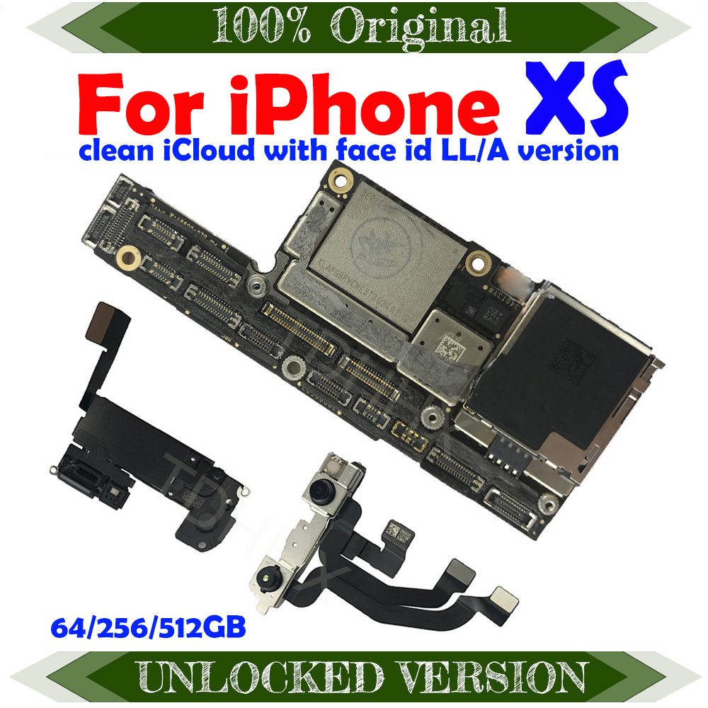 100% Original Unlocked ICloud Clean With Face ID For IPhone XS Motherboard With Full Chips For IPhone XS Main Logic Board