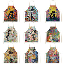 Flower Kitchen Cooking Apron Cute Cat Printed Home Sleeveless Cotton Linen Aprons for Men Women Baking Accessories