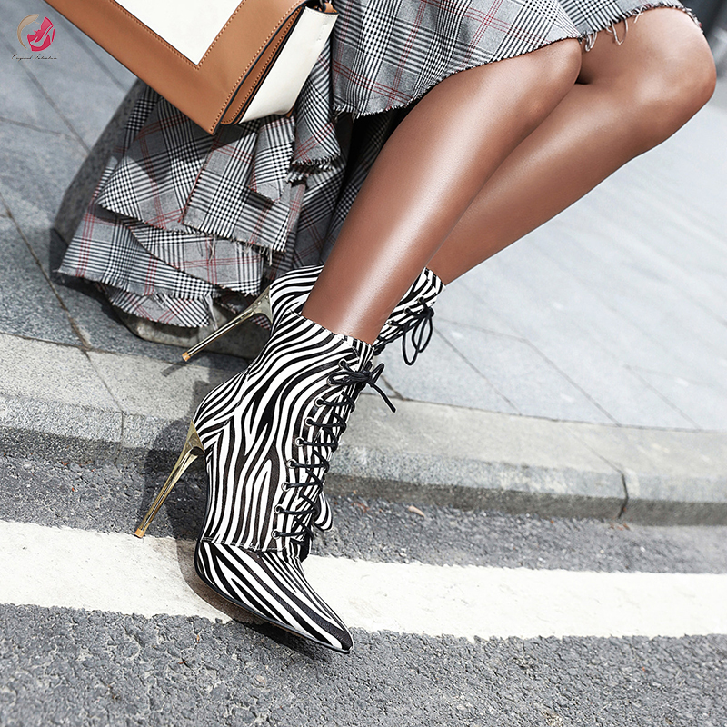Original Intention Popular Fashion Ankle Boots Woman Super Sexy Boots Thin High Heels Pointed Toe Cross-tied Lady Shoes Size4-16