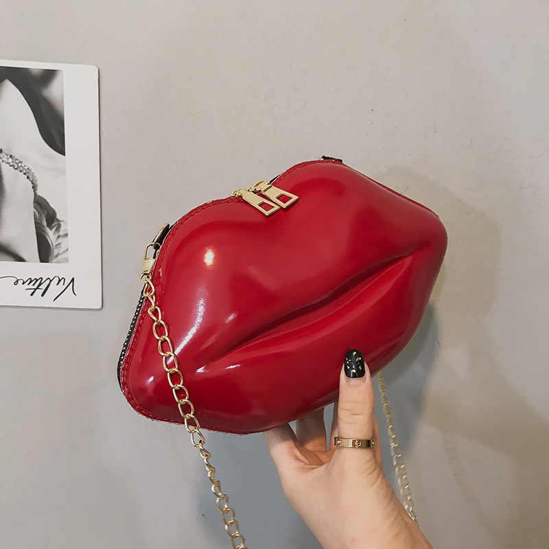 Lábios forma pvc bolsas sólido zíper bolsa de ombro crossbody mensageiro saco da moeda do telefone festa à noite garras bolsas femininas saco