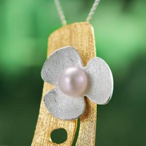 Image 3 - Женский кулон в виде цветка клевера Lotus Fun, кулон без цепочки из серебра 925 пробы с натуральным жемчугом, ювелирное изделие из 18 каратного золота