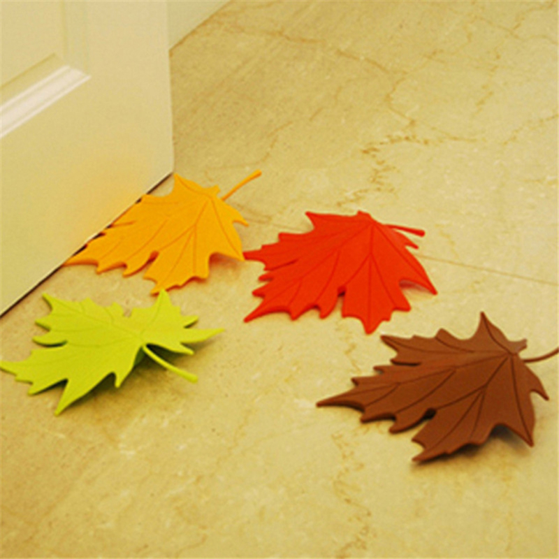 1PCS Door Stop Stopper Maple Autumn Leaf Style Home Decor Finger Safety Doorstop Baby Safety Accessories