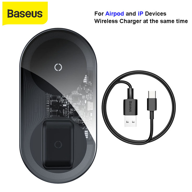 BASEUS 2 in 1 Qi 18W ไร้สายสำหรับ Airpods iPhone 11 Pro Samsung S10 Fast CHARGING Phone Charger พร้อมสาย USB