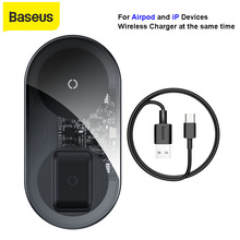 Baseus 2 ב 1 צ י 18W אלחוטי מטען עבור Airpods iPhone 11 pro סמסונג S10 מהיר טעינת טלפון מטען stand עם כבל USB