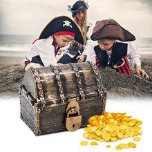 Pirata tesouro caixa com bloqueio crianças caso tesouro brinquedo caixa de armazenamento jóias organizador decoração do feriado festa adereços presente