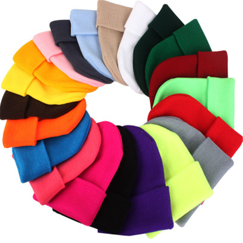 2019 candy color unisex knited winter women's hat warm bonnet hat men casual Cap ski   beanies   cool pile hat female   skullies
