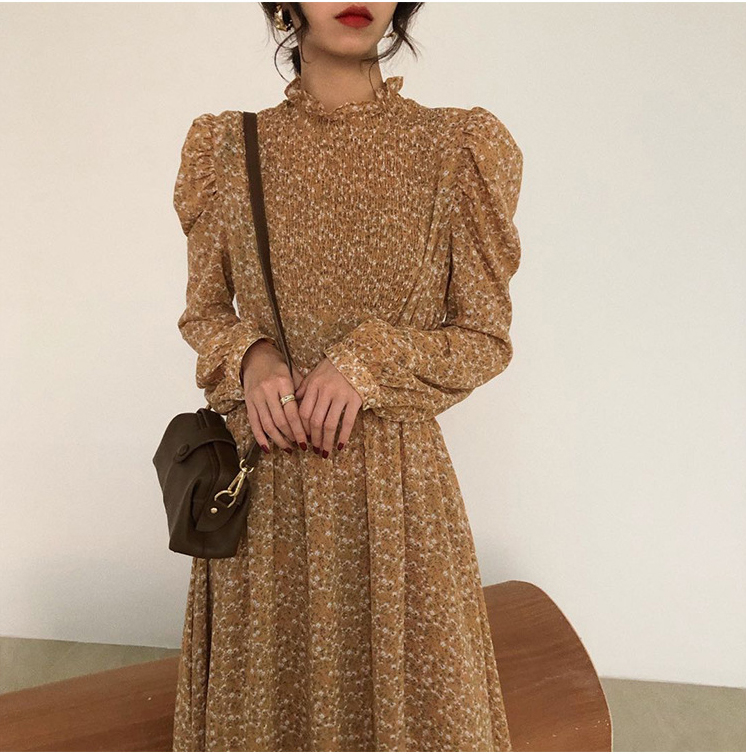 Hfed76f163d0849799d2319aa1c999f63e - Autumn Stand Collar Long Sleeves Waist-Controlled Floral Print Maxi Dress