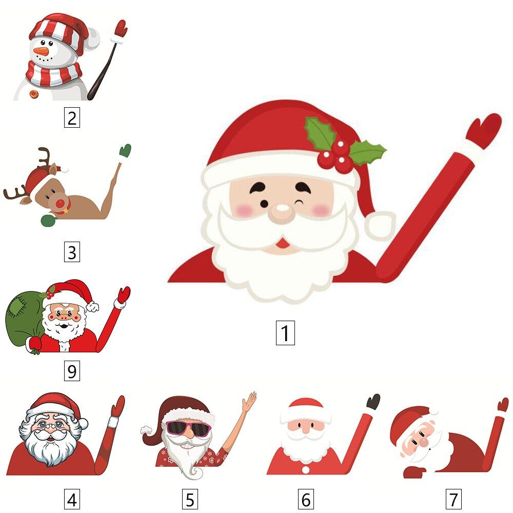 Christmas Stickers Decor 3D Waving Santa Claus Car Stickers Christmas Styling Window Wiper Decals Rear Windshield Decor