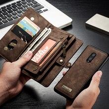 На молнии Многофункциональный магнитный чехол для телефона из натуральной кожи для Oneplus 7 Чехол флип-кошелек на застежке чехол для Oneplus 7 Pro 7Pro