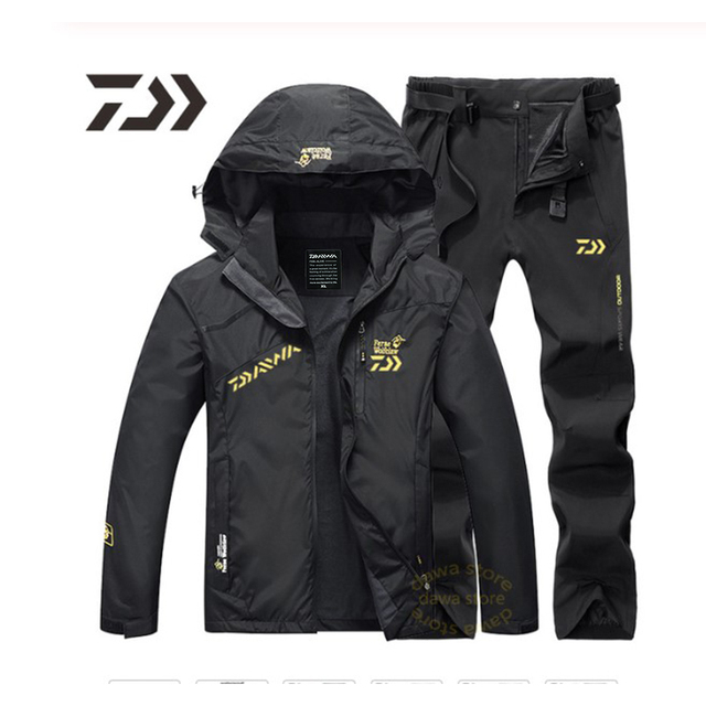 Мужской рыболовный костюм куртка брюки непромокаемая ткань и тёплая подкладка 4