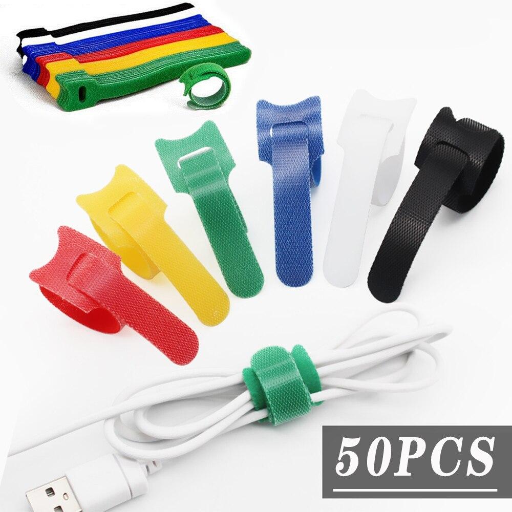 50 шт. многоразовые; Смешанные цвета; Цветная кабельная стяжка, для изготовления нейлоновых кабельных стяжек, хомут для кабеля Velcro галстук-ба...