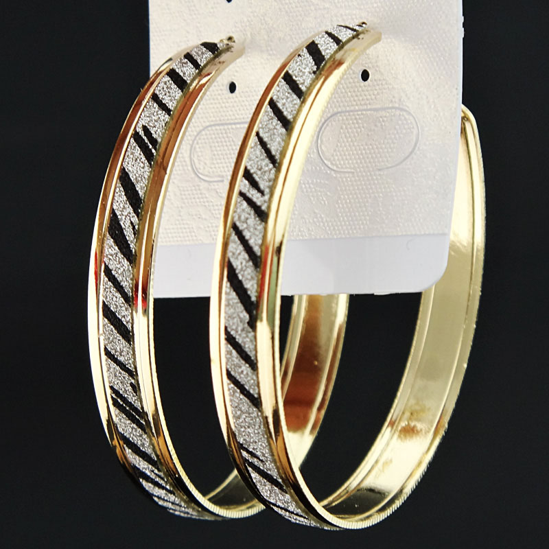 Лидер продаж, модные женские серьги-кольца с принтом зебры из матового серебра, большие вечерние ювелирные изделия, женские серьги в подарок - Окраска металла: Gold Zebra
