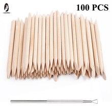 100/50/10 uds/Packs Nail Art diseño cutícula empujador naranja bastón de madera palos cutícula empujador removedor de manicura o pedicura cuidado